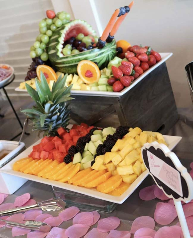 Fruit Display with carriage for baby shower catering delicious food