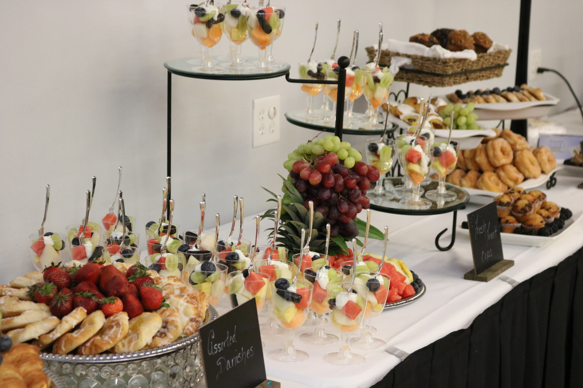 Breakfast set up for corporate clients catering services